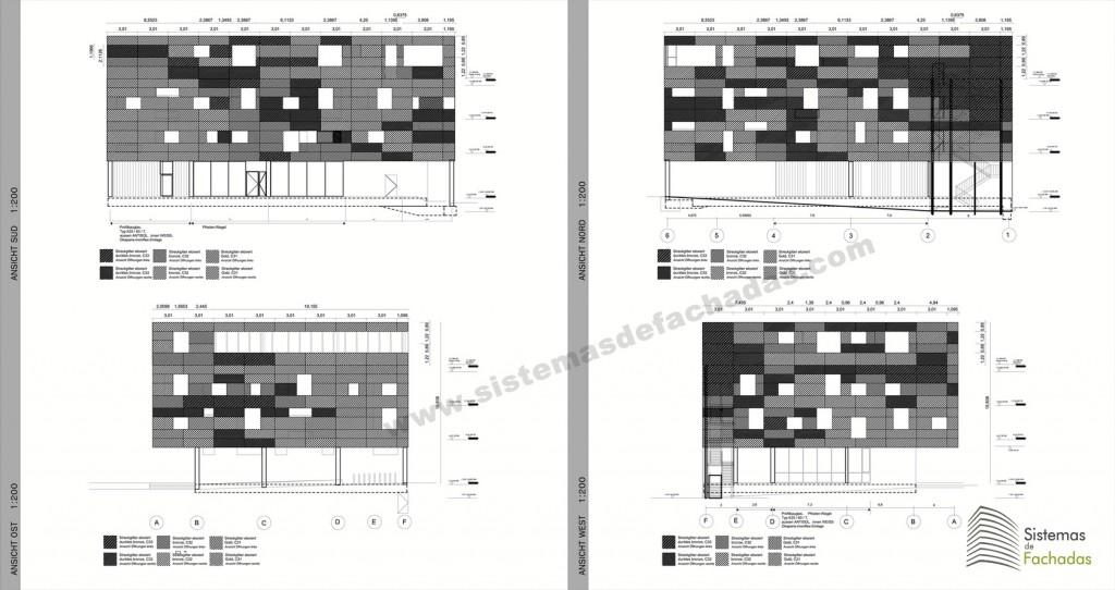 plano diseño de fachada ventilada